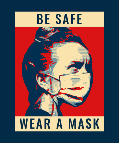 T-Shirt Design Template for a Wear a Mask Awareness Campaign 3552c