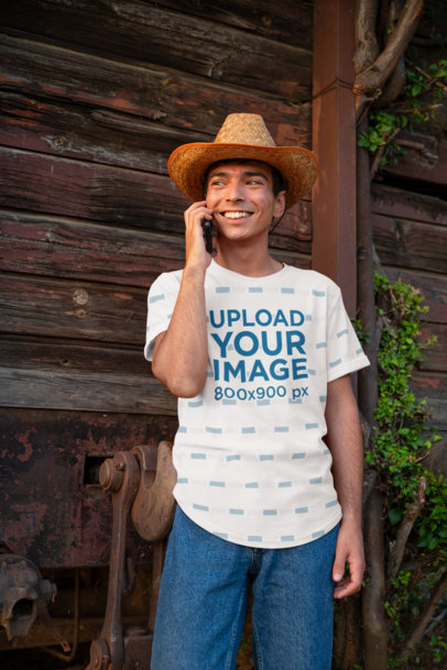 Sublimated Tee Mockup of a Happy Young Man on the Phone 42811-r-el2