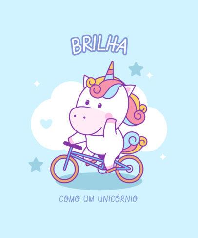 Cute T-Shirt Design Template Featuring a Unicorn Riding a Bike 3758a-el1