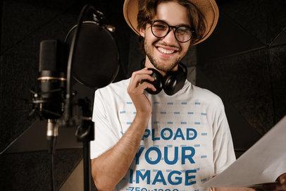 T-Shirt Mockup of a Young Musician at a Recording Studio 40168-r-el2