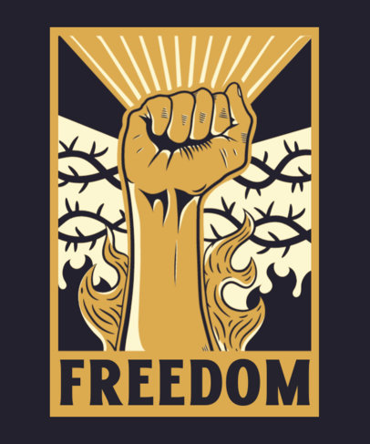 T-Shirt Design Template With a Freedom Message and a Raised Fist Graphic 3560a
