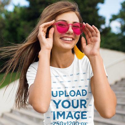 T-Shirt Mockup of a Woman Wearing Pink Sunglasses m4165-r-el2