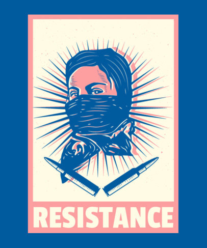 T-Shirt Design Generator Featuring a Revolutionary Woman Illustration 3560b