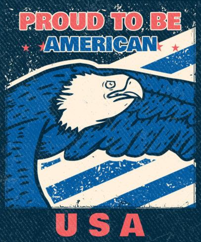 Patriotic T-Shirt Design Featuring a Bald Eagle Illustration 3551d