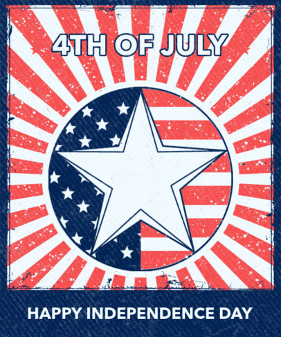 T-Shirt Design Template to Celebrate the 4th of July Featuring a Star Icon 3551g