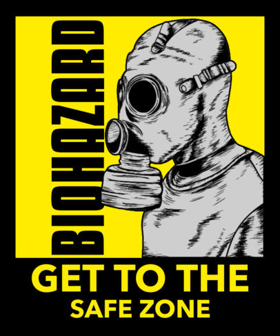 Illustrated T-Shirt Design Maker for Gamers Featuring a Character with a Gas Mask 3557c