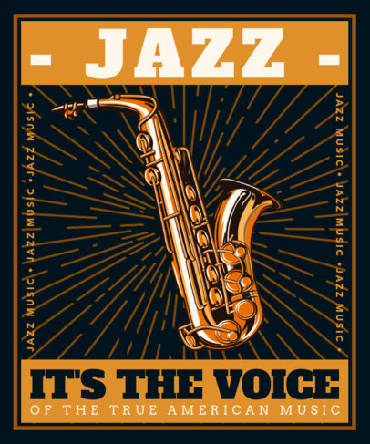 T-Shirt Design Creator for Jazz Enthusiasts with a Sax Graphic 3558A