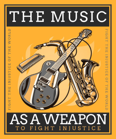 Music-Themed T-Shirt Design Maker with Illustrations of Instruments 3558E