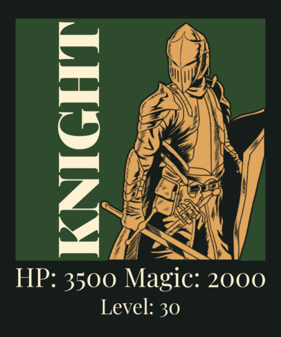 Illustrated T-Shirt Design Maker for Gamers with a Medieval Knight Illustration 3557f