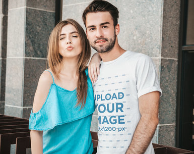 Round Neck T-Shirt Mockup Featuring a Happy Couple Smiling to the Camera M4179-r-el2