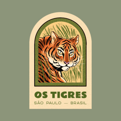 Logo Template for Apparel Brands Featuring a Japanese-Styled Tiger Graphic 4218c