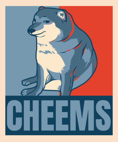 Political-Styled T-Shirt Design Template with a Cheems Dog Graphic 3553e