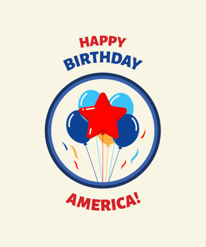 4th of July T-Shirt Design Creator Featuring Graphics of Balloons 42c
