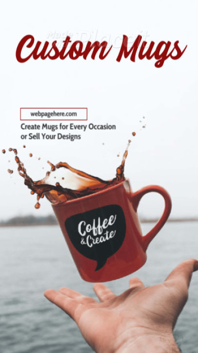 Instagram Story Video Template for a Modern Custom Mugs Ad 1228a 3086-el1