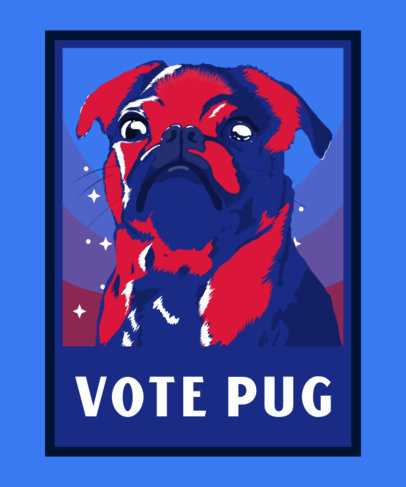 T-Shirt Design Template for a Funny Dog Campaign Featuring a Pug Illustration 3555b