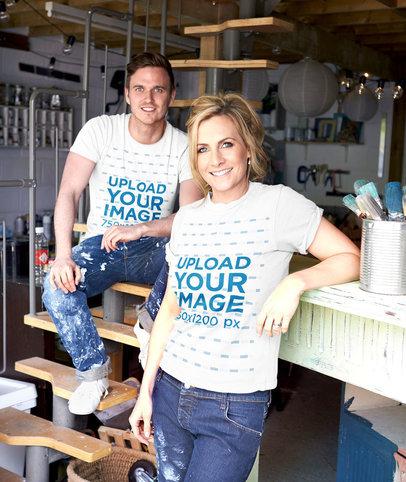 T-Shirt Mockup of a Man and a Woman Posing at a Workshop 46778-r-el2