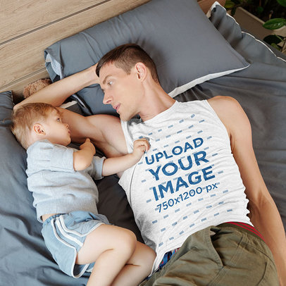 Sleeveless Tee Mockup of a Father Lying in Bed with His Baby m4194-r-el2
