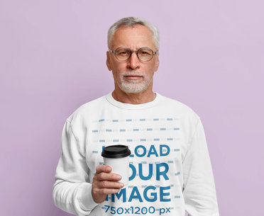 Sweatshirt Mockup Featuring a Serious Man With Glasses in a Studio m3597-r-el2