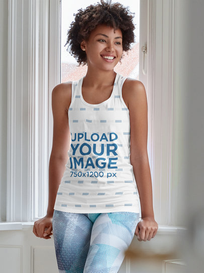 Sublimated Tank Top Mockup Featuring a Happy Woman Posing by a Window m4093-r-el2