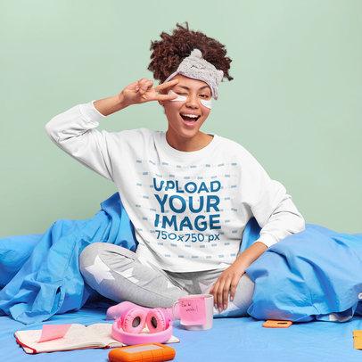Sweatshirt Mockup Featuring a Woman in Pajamas m3629-r-el2