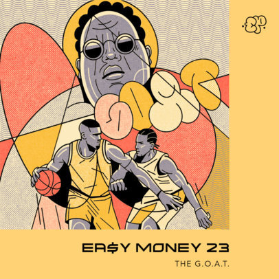 Hip-Hop Album Cover Maker with Street Art-Style Basketball Illustrations 4226