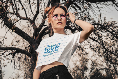 Crop Top Mockup of a Serious Woman Doing a Cool Pose m3254-r-el2