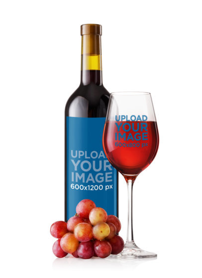 Mockup Featuring a Wine Bottle and a Glass Against Placed by Some Grapes m3264-r-el2