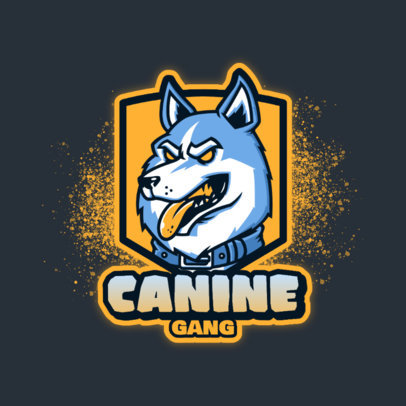 Logo Template for an eSports Squad Featuring an Aggressive Husky Face 4230b