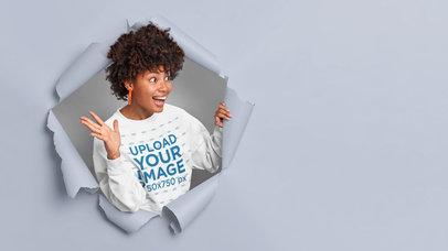 Sweatshirt Mockup of a Cheerful Woman Coming Through a Paper Wall m3634-r-el2