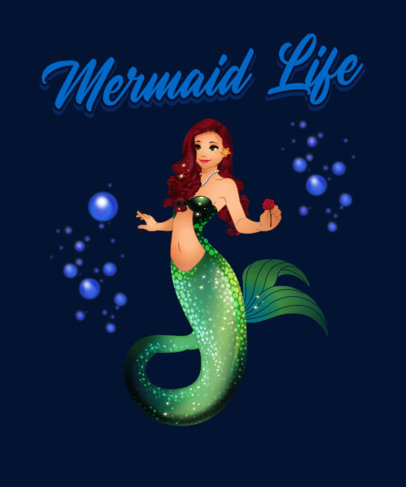 Mermaid-Themed T-Shirt Design Maker with a Beautiful Illustration 3575a