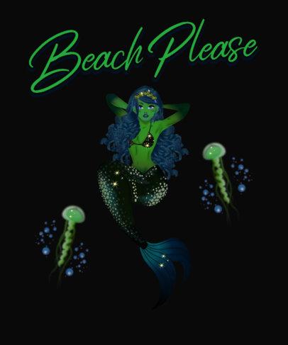 Summer T-Shirt Design Creator Featuring an Abyssal Mermaid 3575b