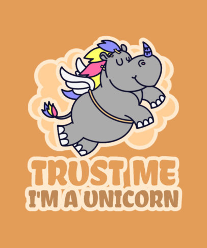Funny T-Shirt Design Template Featuring a Flying Rhino Cartoon 3576a