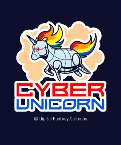 T-Shirt Design Generator Featuring a Robot Unicorn Clipart 3576b