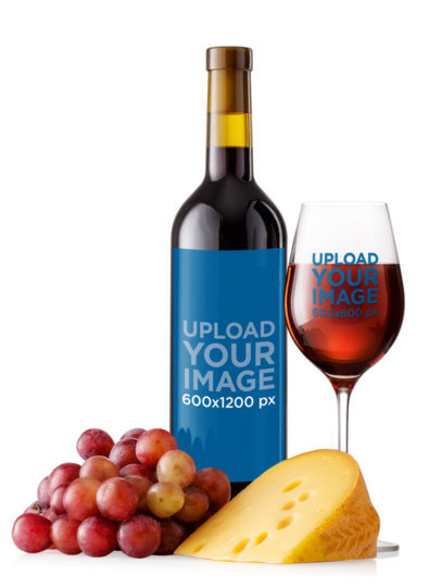 Wine Bottle and Glass Mockup Featuring Cheese and Grapes m3267-r-el2