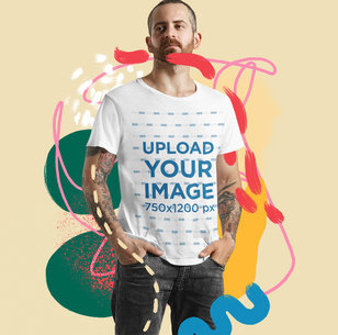 T-Shirt Mockup of a Tattooed Man with an Illustrated Collage m5946-r-el2