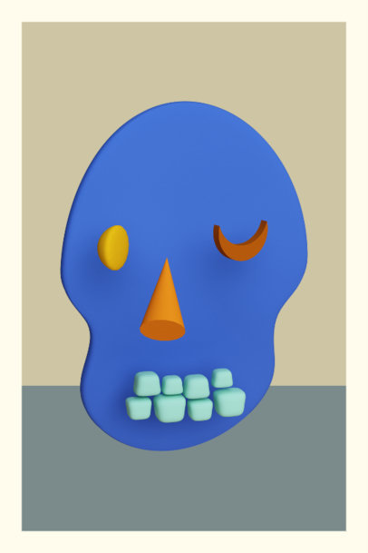 Colorful Art Print Generator Featuring an Abstract 3D Skull 3577a