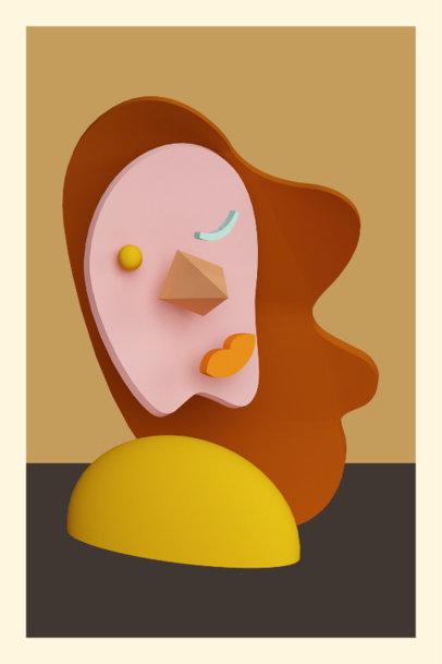 Abstract Art print Creator Featuring a 3D Face 3577d