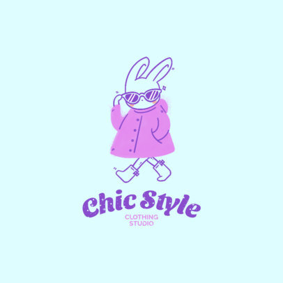 Logo Template for a Kids' Clothing Store Featuring a Cool Bunny Illustration 4236a