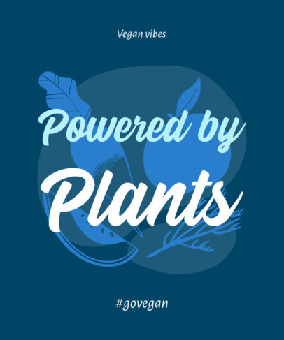 T-Shirt Design Template Featuring a Vegan Theme and a Quote 23b