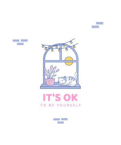 T-Shirt Design Template with a Self-Care Text and a Window Illustration 3783f