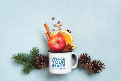 Mockup of a 12 oz Enamel Coffee Mug Filled with Fruits M3621-r-el2