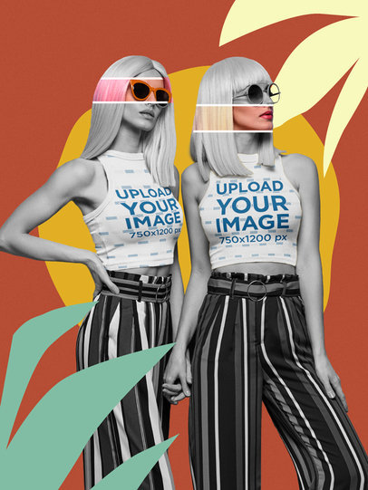 Sleeveless Crop Top Mockup of Two Twin Sisters Featuring Collage Illustrations m5944