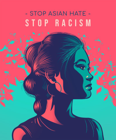 Illustrated T-Shirt Design Maker Featuring an Anti-Racism Quote 3578d