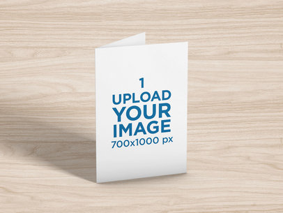Greeting Card Mockup Featuring a Wooden-Texture Backdrop 5223-el1
