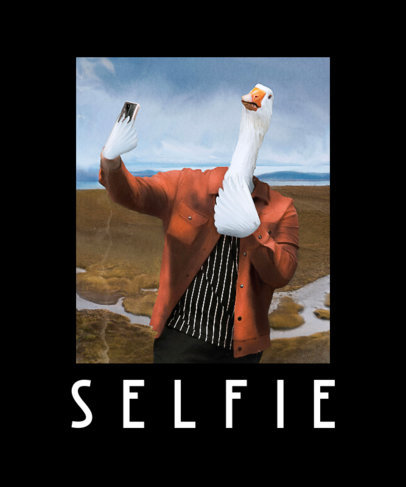 Illustrated T-Shirt Design Generator Featuring a Goose Taking a Selfie 3563g