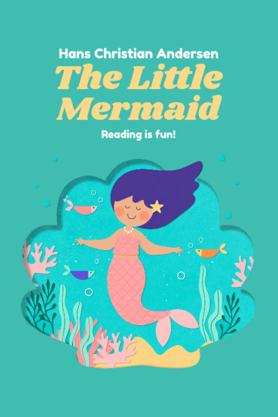 Book Cover Design Creator with a Paper Cut-Out Graphic of a Little Mermaid 3565b