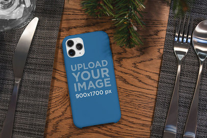 Mockup of a Phone Case Placed on a Dining Table 5172-el1