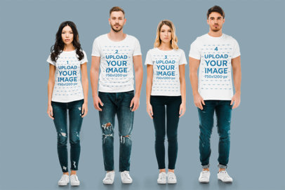 Mockup of Two Men and Two Women Wearing T-Shirts m2847-r-el2