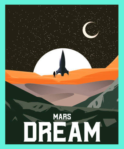 Retro T-Shirt Design Template with a Sci-Fi Outer Space Illustration 3573e