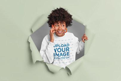 Sweatshirt Mockup Featuring a Woman on the Phone m3598-r-el2